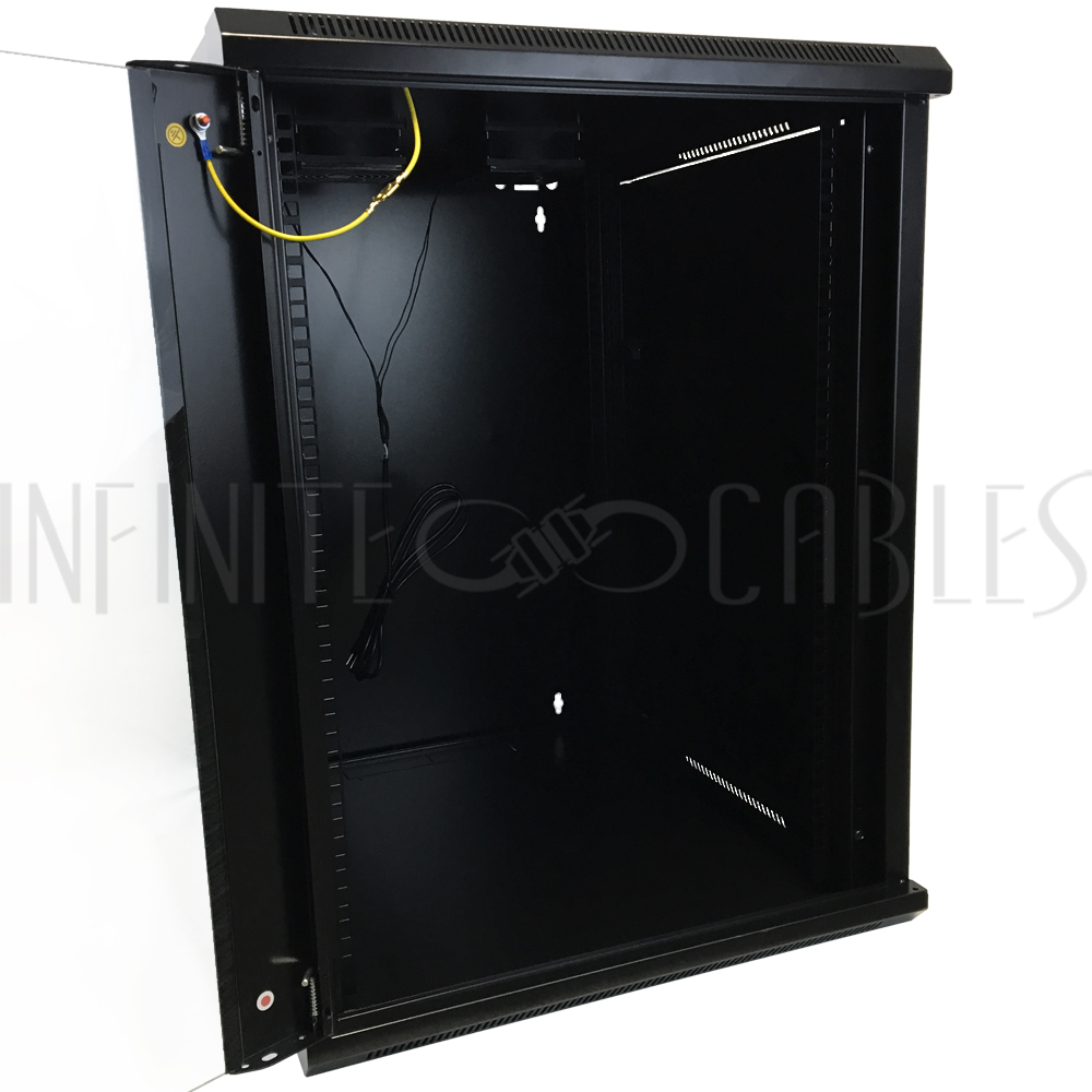 ... Wall Mount Cabinet 15U x 19.5\  Usable Depth Glass Door Fans - Black  sc 1 st  Infinite Cables & Wall Mount Cabinet 15U x 19.5\