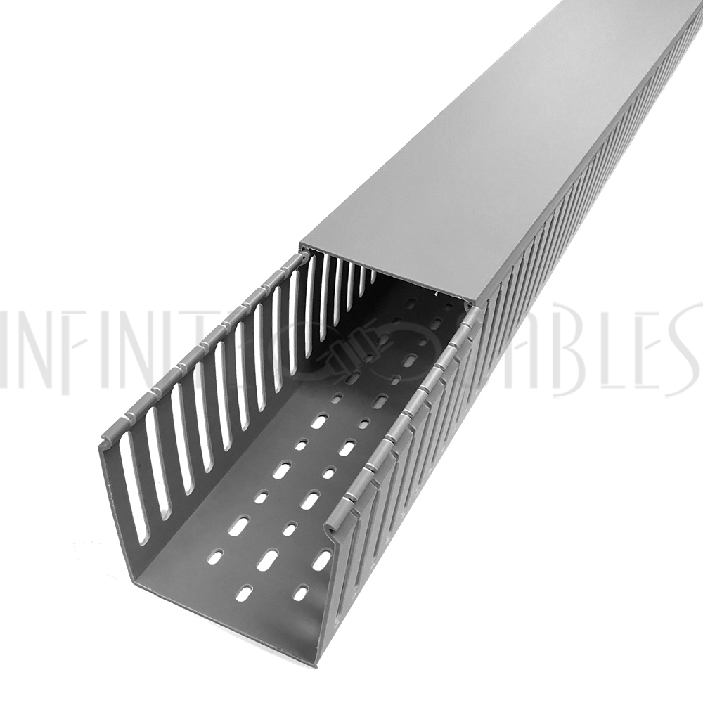 Steel Wiring Duct Solutions Open Slot 6ft Plastic With Cover 4x4 Grey Infinite Cables