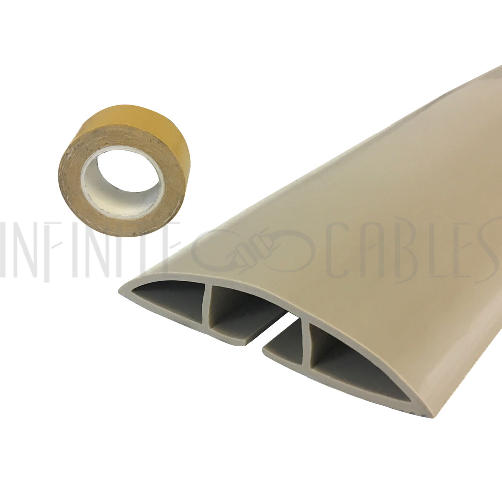 Floor Track Cord Cover with Adhesive Tape - Tan