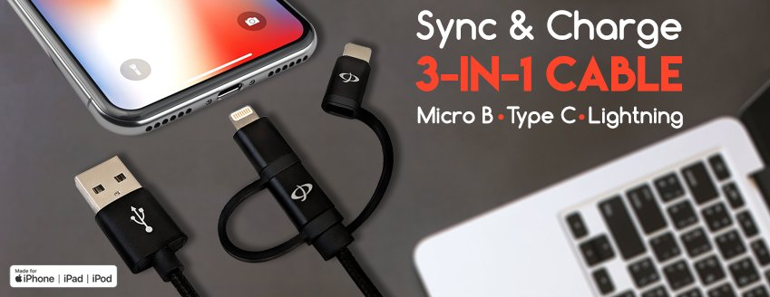 3-in-1 sync & charge usb cable