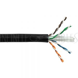 1000ft 4 Pair Cat6A UTP 10Gig Solid Bulk Cable UV / Direct Burial - Black