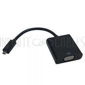 AD-HDMID-VGA 6 inch Micro-HDMI Male to VGA Female + 3.5mm Female Adapter - Black - Smartphone/Tablet to VGA Display