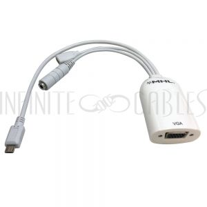 AD-MHL-03 10 inch MHL Micro USB B Male to VGA Female, Micro USB B Female & Stereo Female Adapter - Infinite Cables