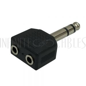 AD-Q2Y3Y3 1/4 Inch Stereo Male to 2 x 3.5mm Stereo Female Adapter