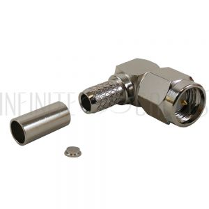 CN-14-195 SMA Right Angle Male Crimp Connector for RG58 (LMR-195) 50 Ohm
