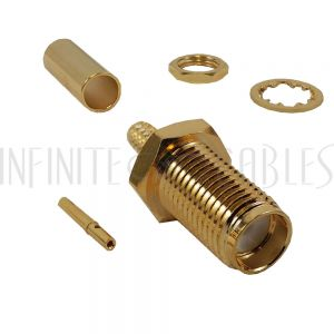 CN-16-100 SMA Female Bulkhead Crimp Connector for RG174 (LMR-100) 50 Ohm - Infinite Cables