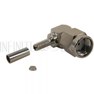 CN-18-100 SMA Reverse Polarity Male Right Angle Crimp Connector for RG174 (LMR-100) 50 Ohm - Infinite Cables