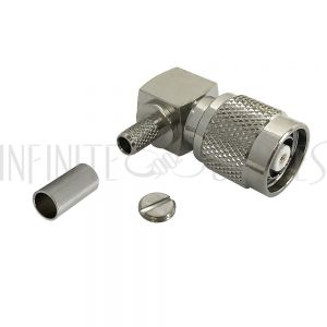 CN-28-195 TNC Reverse Polarity Male Right Angle Crimp Connector for RG58 (LMR-195) 50 Ohm - Infinite Cables