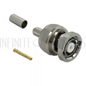 CN-32-195 BNC Reverse Polarity Male Crimp Connector for RG58 (LMR-195) 50 Ohm - Infinite Cables