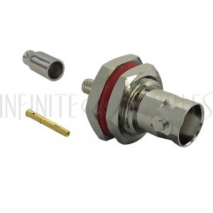 CN-36-100 BNC Female Bulkhead Crimp Connector for RG174 (LMR-100) 50 Ohm - Infinite Cables