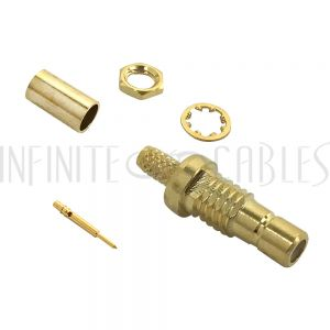 CN-46-100 SMB Female Bulkhead Crimp Connector for RG174 (LMR-100) 50 Ohm - Infinite Cables