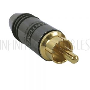 CN-SRCAMM-4.5BK Premium Mini-RCA Male Solder Connector (4.5mm ID) - Black - Infinite Cables