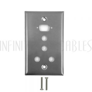 WP-101-SS 1-Port DB9 size cutout + 4 x 3/8 inch hole Stainless Steel Wall Plate