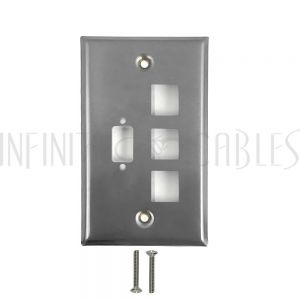 WP-102-SS 1-Port DB9 size cutout + 3 x Keystone Stainless Steel Wall Plate