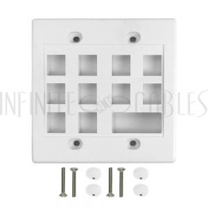 WP-10P1D-WH Wall Plate, 10-Port Keystone + 1-Port Dual Keystone, Double Gang - White - Infinite Cables