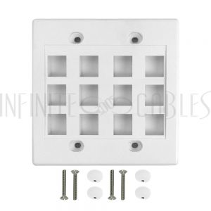 WP-12P-WH Wall Plate, 12-Port Keystone Double Gang - White - Infinite Cables