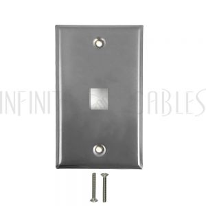 WP-1P-SS 1-Port Keystone Stainless Steel Wall Plate - Infinite Cables