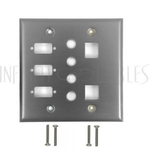 WP-206-SS Double Gang, 3-Port DB9 size cutout , 4 x 3/8 inch hole, 2 x Keystone Stainless Steel Wall Plate - Infinite Cables