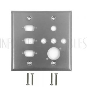 WP-207-SS Double Gang, 3-Port DB9 size cutout , 4 x 3/8 inch hole, 1 x XLR Stainless Steel Wall Plate