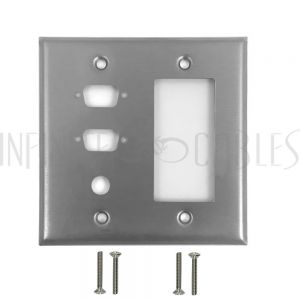 WP-208-SS Double Gang, 2-Port DB9 size cutout , 1 x 3/8 inch hole, 1 x Decora Stainless Steel Wall Plate - Infinite Cables