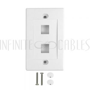 WP-2P-WH Wall Plate, 2-Port Keystone - White - Infinite Cables