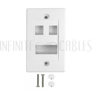 WP-2P1D-WH Wall Plate, 2-Port Keystone + 1-Port Dual Keystone, White - Infinite Cables