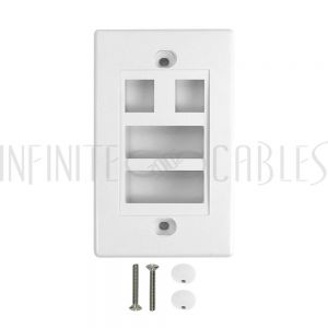WP-2P2D-WH Wall Plate, 2-Port Keystone + 2-Port Dual Keystone, White - Infinite Cables