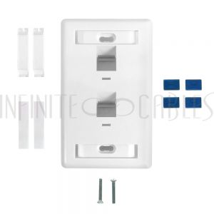 WP-2PA-WH Wall plate, 2-Port Angled Keystone - White