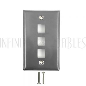 WP-3P-SS 3-Port Keystone Stainless Steel Wall Plate - Infinite Cables