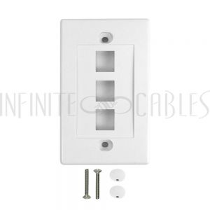 WP-3P-WH Wall Plate, 3-Port Keystone - White - Infinite Cables