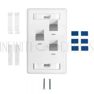 WP-3PA-WH Wall plate, 3-Port Angled Keystone - White