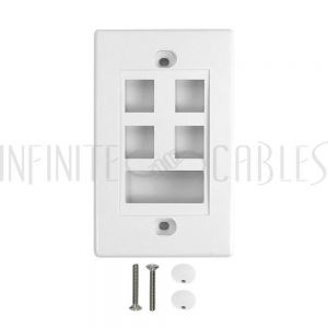 WP-4P1D-WH Wall Plate, 4-Port Keystone + 1-Port Dual Keystone, White - Infinite Cables