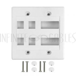 WP-4P2D-WH Wall Plate, 4-Port Keystone + 2-Port Dual Keystone, Double Gang - White