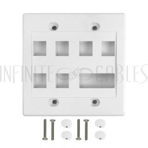 WP-6P1D-WH Wall Plate, 6-Port Keystone + 1-Port Dual Keystone, Double Gang - White - Infinite Cables