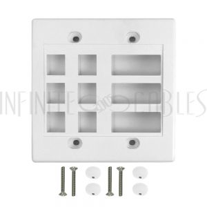 WP-6P3D-WH Wall Plate, 6-Port Keystone + 3-Port Dual Keystone, Double Gang - White