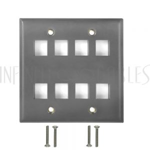 WP-8P-SS Double Gang, 8-Port Keystone Stainless Steel Wall Plate