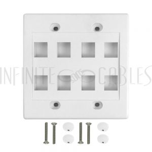 WP-8P-WH Wall Plate, 8-Port Keystone Double Gang - White - Infinite Cables