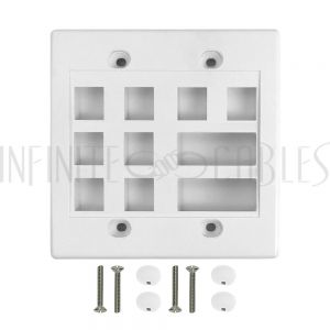 WP-8P2D-WH Wall Plate, 8-Port Keystone + 2-Port Dual Keystone, Double Gang - White - Infinite Cables