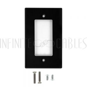 WP-D1-BK Decora Single Gang Wall Plate - Black - Infinite Cables