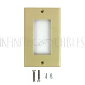 WP-D1-IV Decora Single Gang Wall Plate - Ivory - Infinite Cables