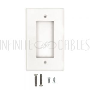 WP-D1-WH Decora Single Gang Wall Plate - White - Infinite Cables