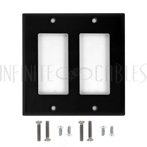 WP-D2-BK Decora Double Gang Wall Plate - Black - Infinite Cables