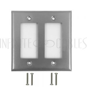 WP-D2-SS Decora Double Gang Wall Plate - Stainless Steel - Infinite Cables