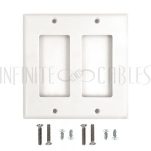 WP-D2-WH Decora Double Gang Wall Plate - White - Infinite Cables
