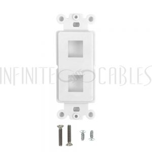 WP-D2P-WH Decora Strap 2-Port Keystone - White - Infinite Cables