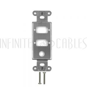 """WP-D2VA-SS Decora Strap 2x DB9 Cutout + 3/8"""" Hole Cutout - Stainless Steel - Infinite Cables"""