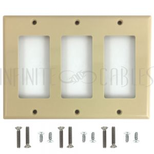 WP-D3-IV Decora Triple Gang Wall Plate - Ivory - Infinite Cables