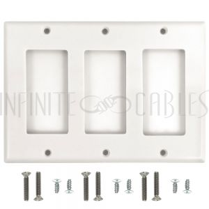 WP-D3-WH Decora Triple Gang Wall Plate - White - Infinite Cables