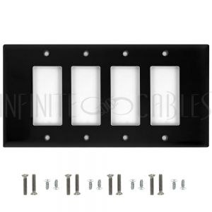 Decora Four Gang Wall Plate - Black