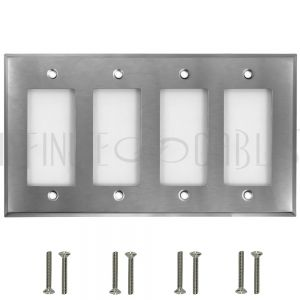 WP-D4-SS Decora Four Gang Wall Plate - Stainless Steel - Infinite Cables